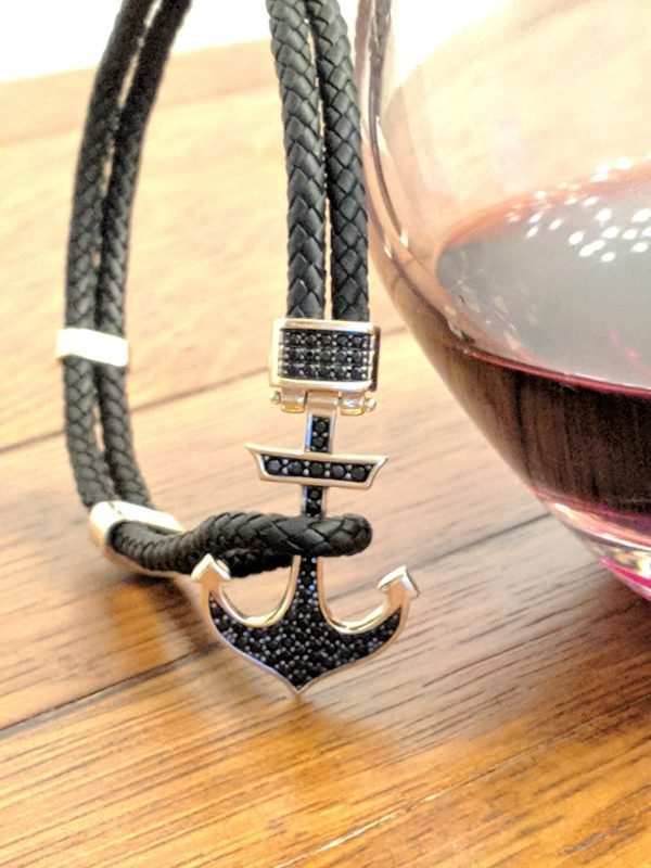 14KT YELLOW GOLD LEATHER ANCHOR BRACELET, WINE CARBO JEWELERS, WINE BARREL