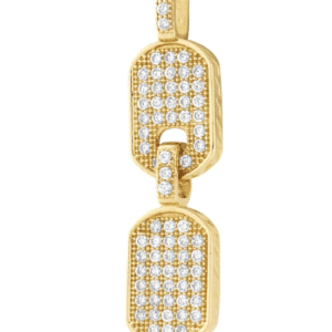 14K Yellow Gold two Double Dog Tag Chain Pendant with Genuine white Cubic Zirconia Side View