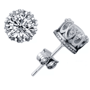 Stainless Steel Antiqued And Polished Crown With CZ Post Earrings