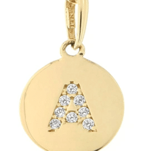 """14KT Yellow Gold Round Disk Initial Charm Pendant Cubic Zirconia Letter """"A"""""""