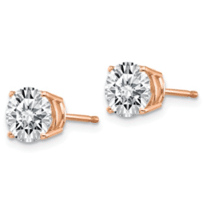 14K Rose Gold Round Cubic Zirconia Stud Earrings Pair