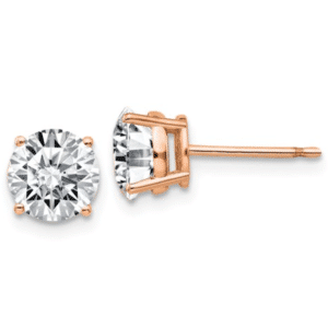 14K Rose Gold Round Cubic Zirconia Stud Earrings