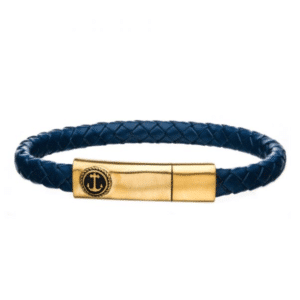 Fashion Men's Blue Leather with Brushed Gold Plated Bar Anchor Clasp