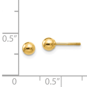 18K, 14K Yellow Gold 4mm Ball Stud Earrings Screw Back Scale View Dormilona Aretes Dorado