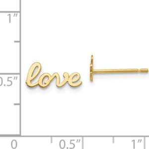 14K Yellow Gold Script High Polished Love Stud Earrings Scale View Pair