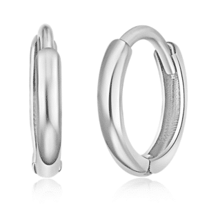 14K White Gold Huggie Hoop Earrings Small Pair Plain High Polished