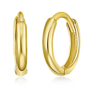 14K Yellow Gold Huggie Hoop Earrings Small Pair Plain High Polished
