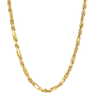 14K Yellow Gold Melano Rope Chain Necklace Thin Bracelet Solid Figaro Rope MM