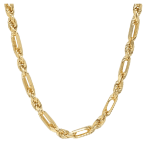 14K Yellow Gold Melano Rope Chain Necklace Thick Solid Figaro Rope MM