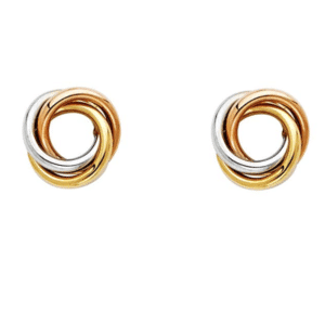 14K Tri-Color Love Knot Earrings Stud Push back Front View