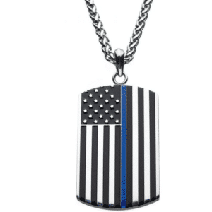 """Thin Blue Line American Flag Police Officer Military Style Dog Tag Enamel Pendant with Wheat Chain 24"""""""