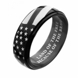 """Inox Black Ion Spinner American Flag Pride Rings Stainless Steel 316L """"Land of the free because of the brave"""""""