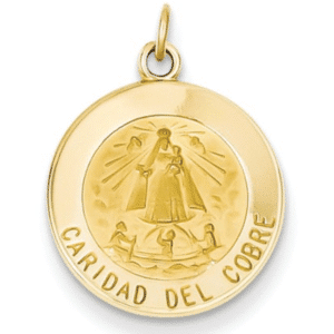 """14K Gold Caridad Del Cobre Medal Round Front View .75"""" Length Solid"""