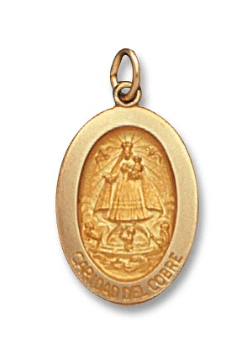 14K Yellow Gold Oval Caridad Del Cobre Medal Front View 7/8 Inch Length Solid