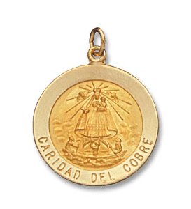 14K Yellow Gold Caridad Del Cobre Medal Round Front View 1 Inch Length Solid