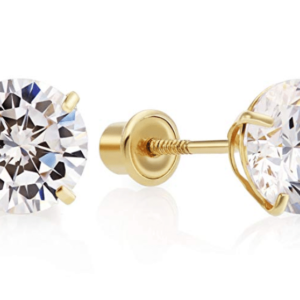 14K Yellow Gold Large Round Cubic Zirconia Stud Earrings Front with Side View Screw Back