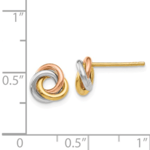 14K Tri-Color Love Knot Earrings 8MM Wide Front with Side View to Scale