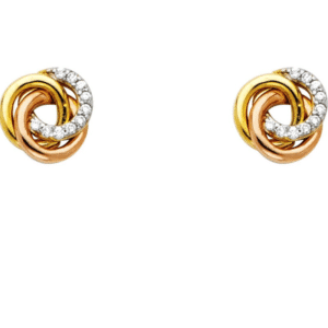 14K Tri-Color Love Knot Earrings 8MM Wide Front View with Pave Set Genuine Cubic Zirconias