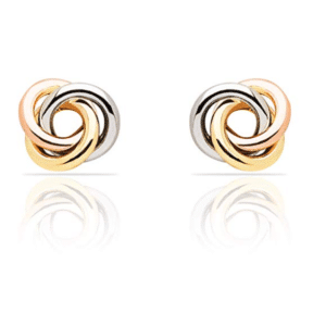 14K Tri-Color Love Knot Earrings 8MM Wide Front View