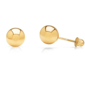 14K Yellow Gold Ball Stud Earrings with Secure Screw-backs Dormilona 4mm 5mm