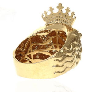 14K Yellow Gold Lion King Crown Ring Rear Back Side View
