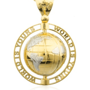 """14K Yellow Gold """"World Is Yours"""" Globe Pendant Two-Tone Rhodium Continents Hip-Hop"""