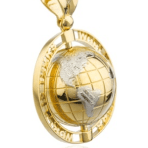 """14K Yellow Gold """"World Is Yours"""" Globe Pendant Two-Tone Rhodium Continents Hip-Hop Side View"""