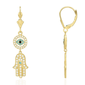 14K Yellow Gold Hanging Hamsa with Evil Eye French Back Earrings Light & Dark Blue