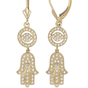14K Yellow Gold Hanging Hamsa with Evil Eye French Back Earrings all White Cubic Zirconias