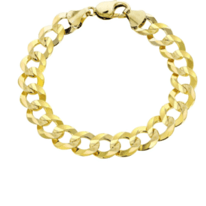 14K Yellow Gold Cuban Italian Curb Link Bracelet 11MM 9 inches in length for men closed