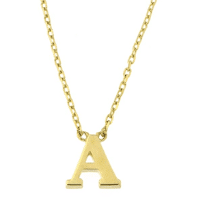 "14KT Yellow Gold Simple Initial Letter Set ""A"" With Cable/Rolo Chain 16"""
