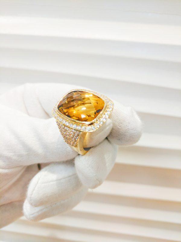YELLOW CITRINE RING 18KT