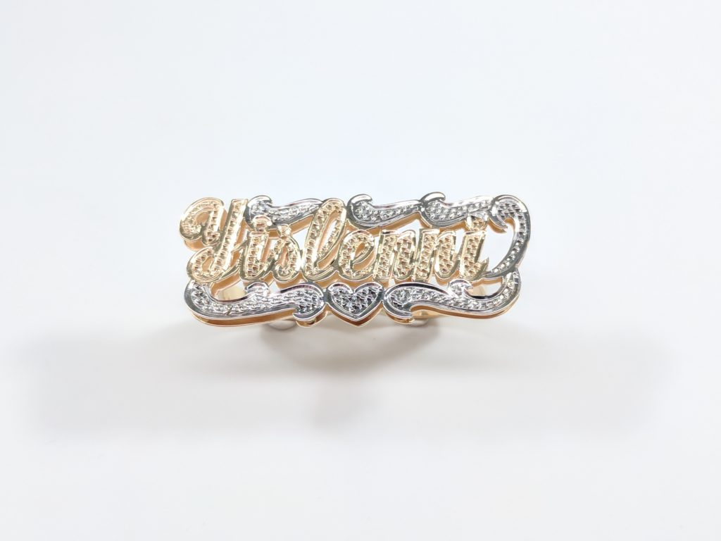 LADIES 14KT YELLOW GOLD DOUBLE FINGER NAME RING