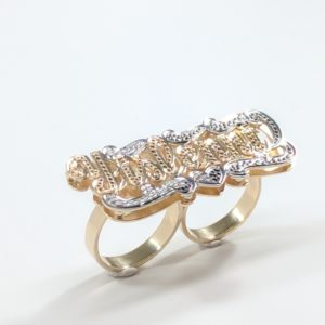 14KT GOLD LADIES DOUBLE FINGER NAME RING