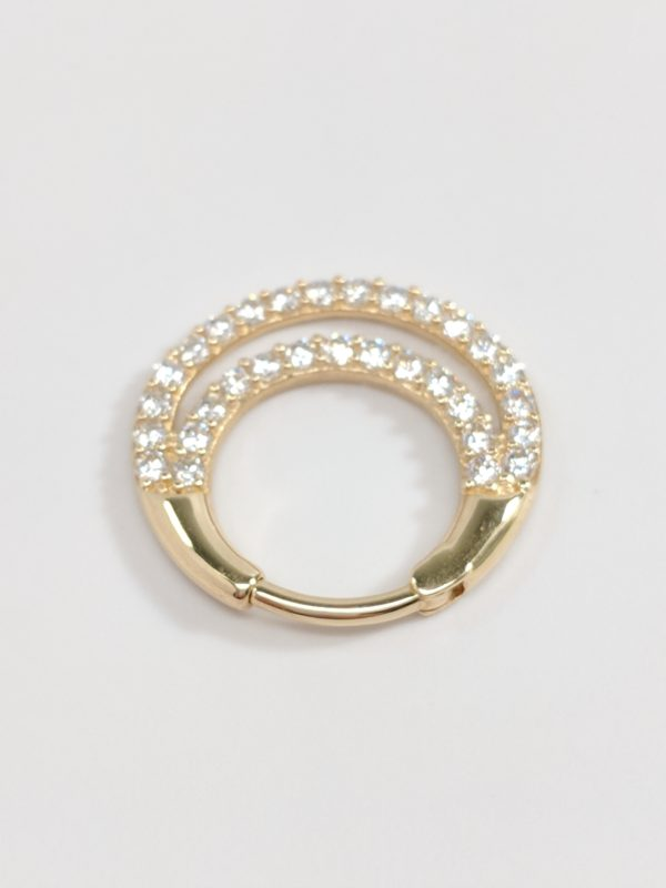 14KT Yellow Gold Septum Ring, Nose Piercing, Lock