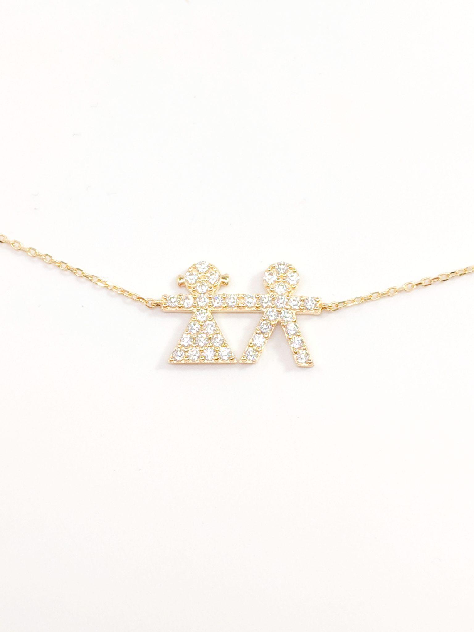 14K Yellow Gold Zirconia Boy & Girl Necklace