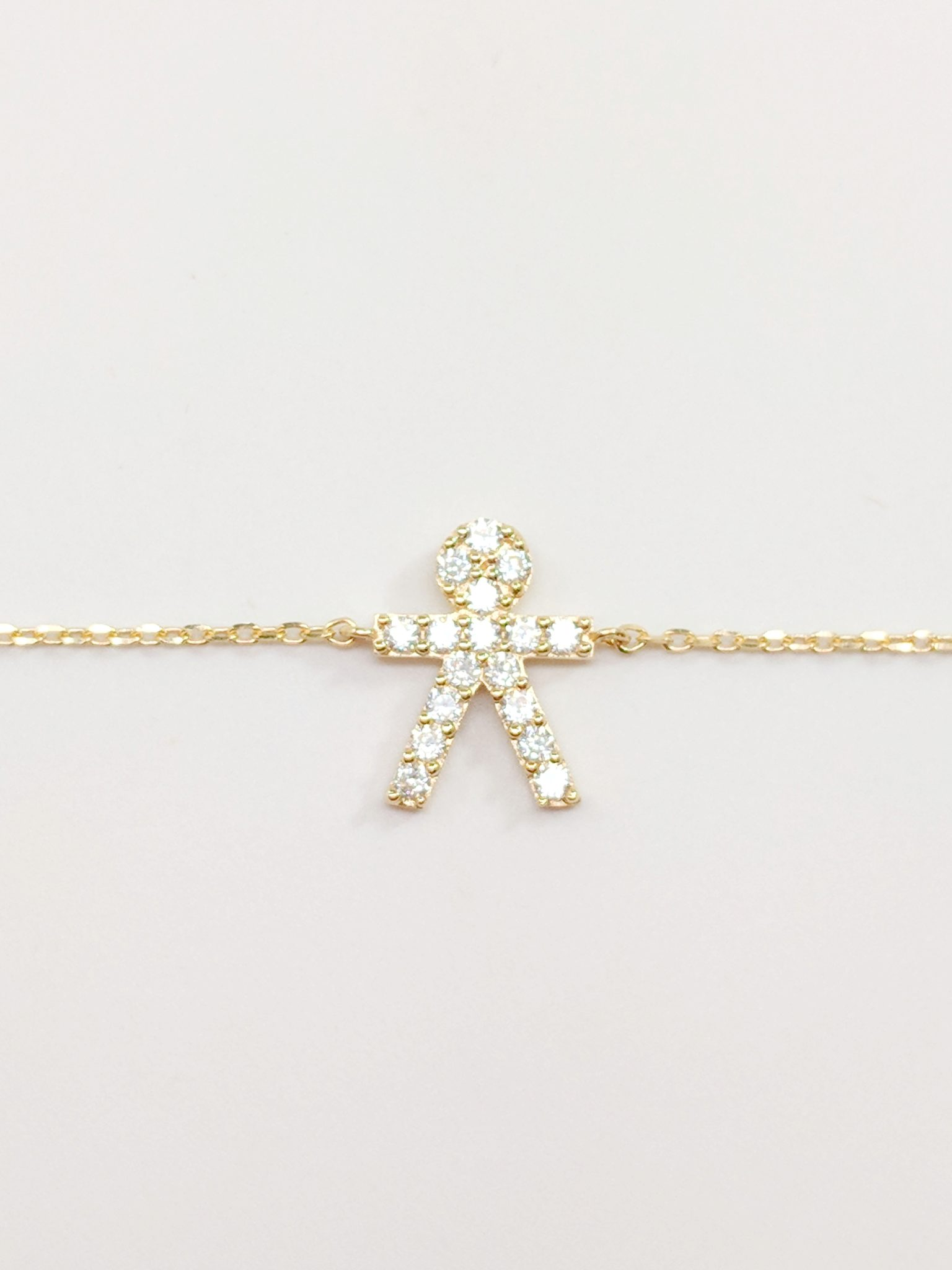 14K Yellow Gold Zirconia Boy only Necklace