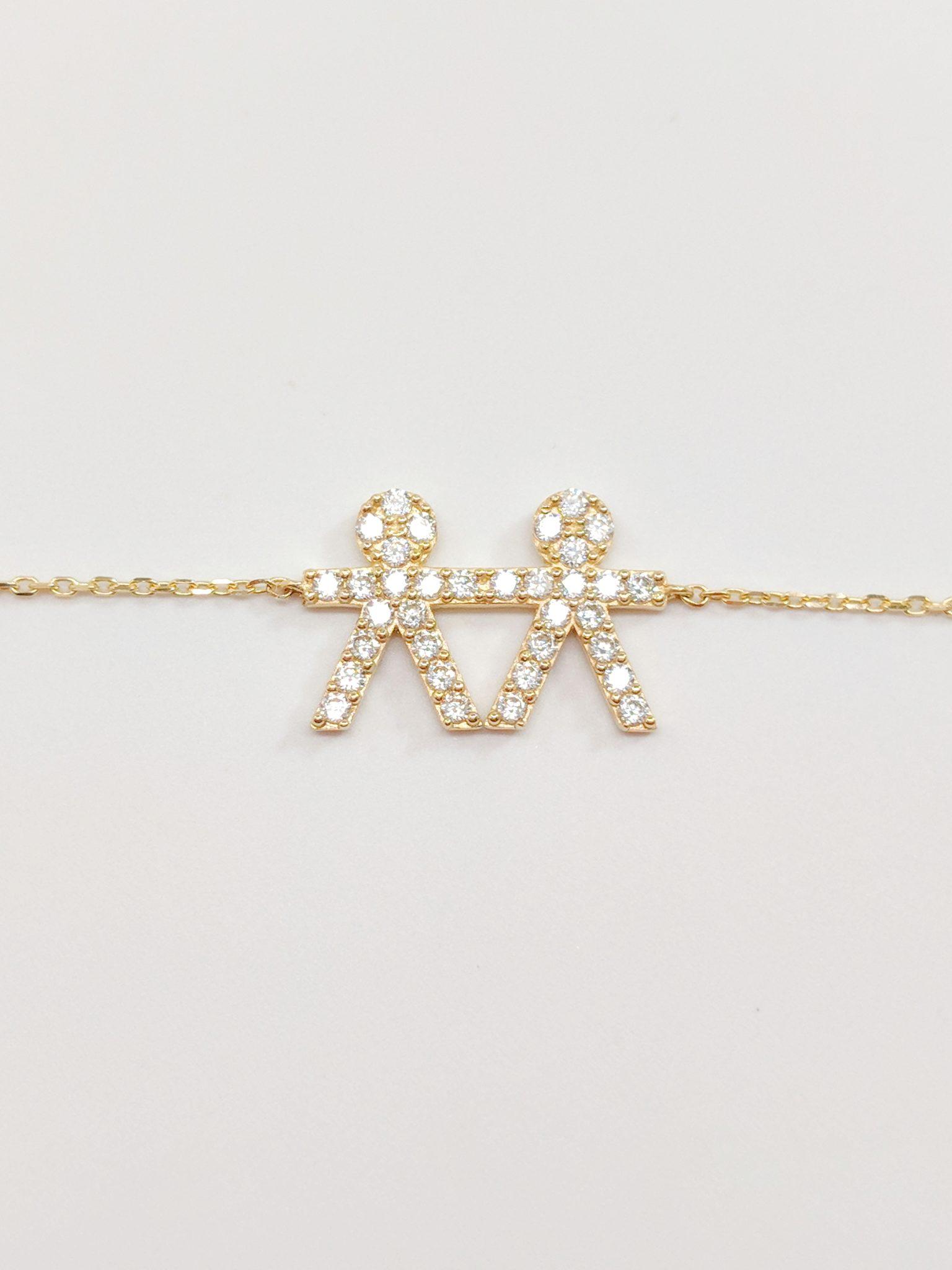 14K Yellow Gold Zirconia Boy & Boy Necklace