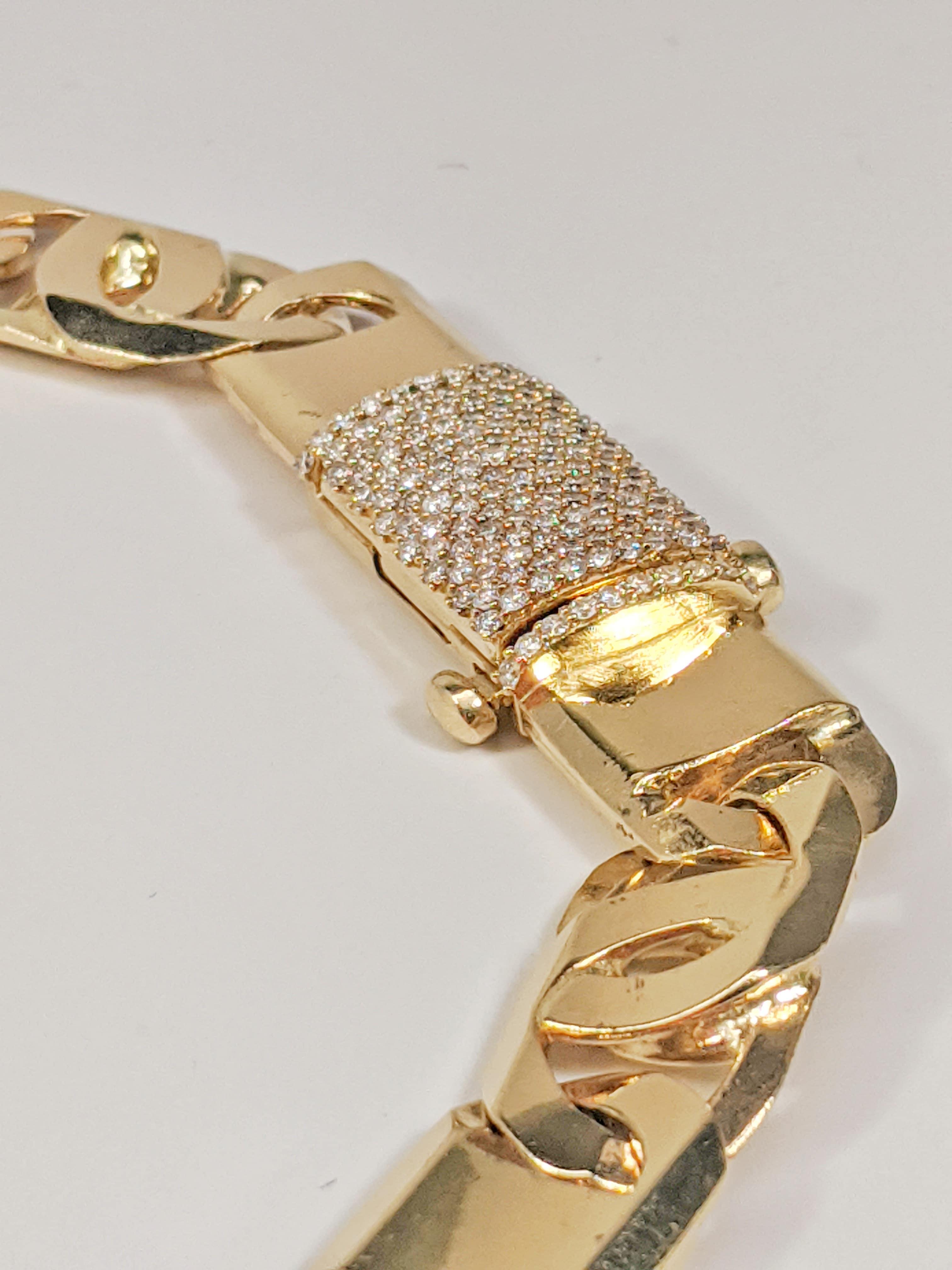 14KT Yellow Gold Solid Heavy Fancy Tiger Eye Link Chain, Hand Made Italian Chain 12MM wide, VVS Pave Diamond Lock, Cuban Box Lock, Lock Side View