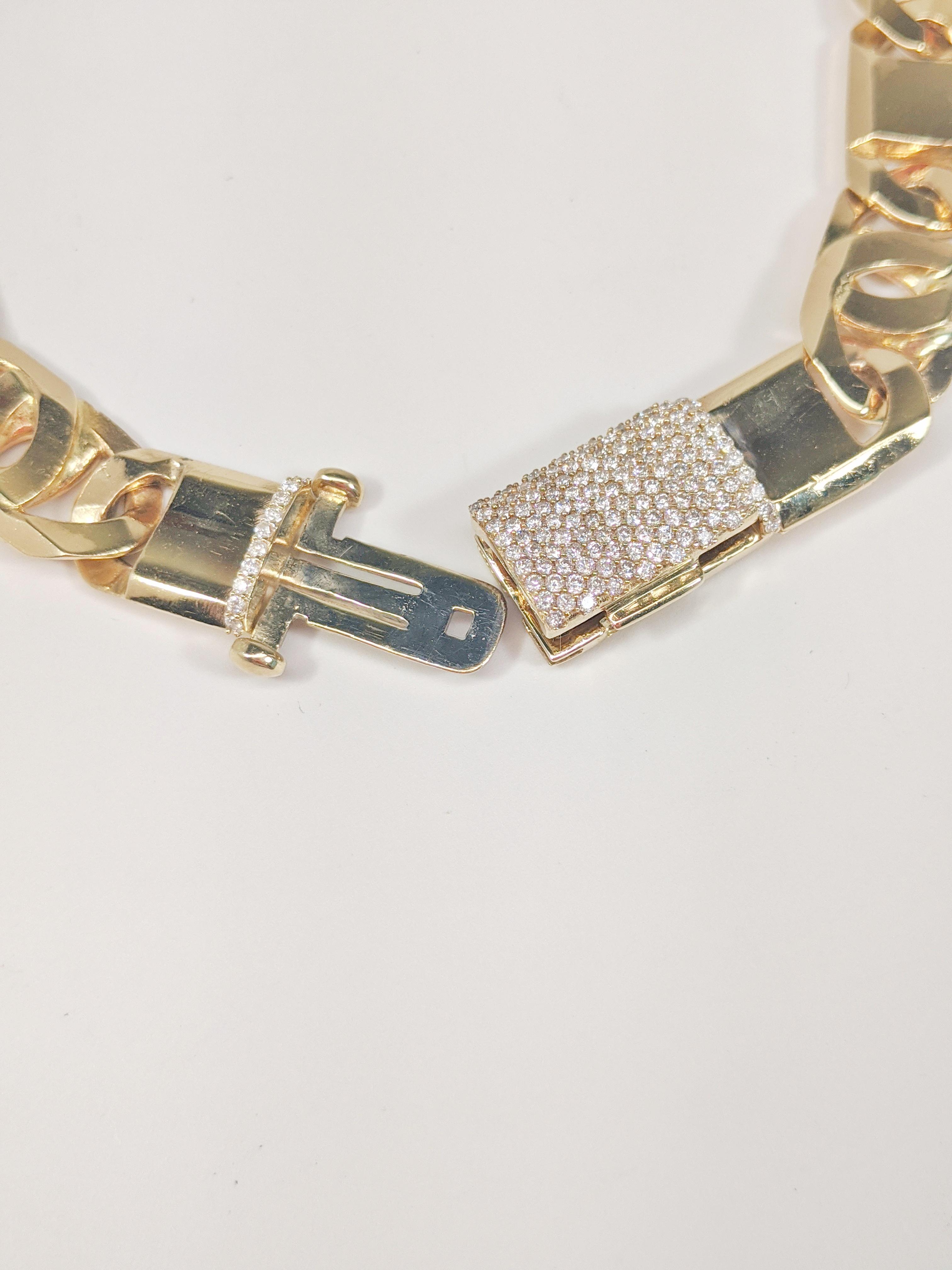 14KT Yellow Gold Solid Heavy Fancy Tiger Eye Link Chain, Hand Made Italian Chain 12MM wide, VVS Pave Diamond Lock, Cuban Box Lock, Open Lock A