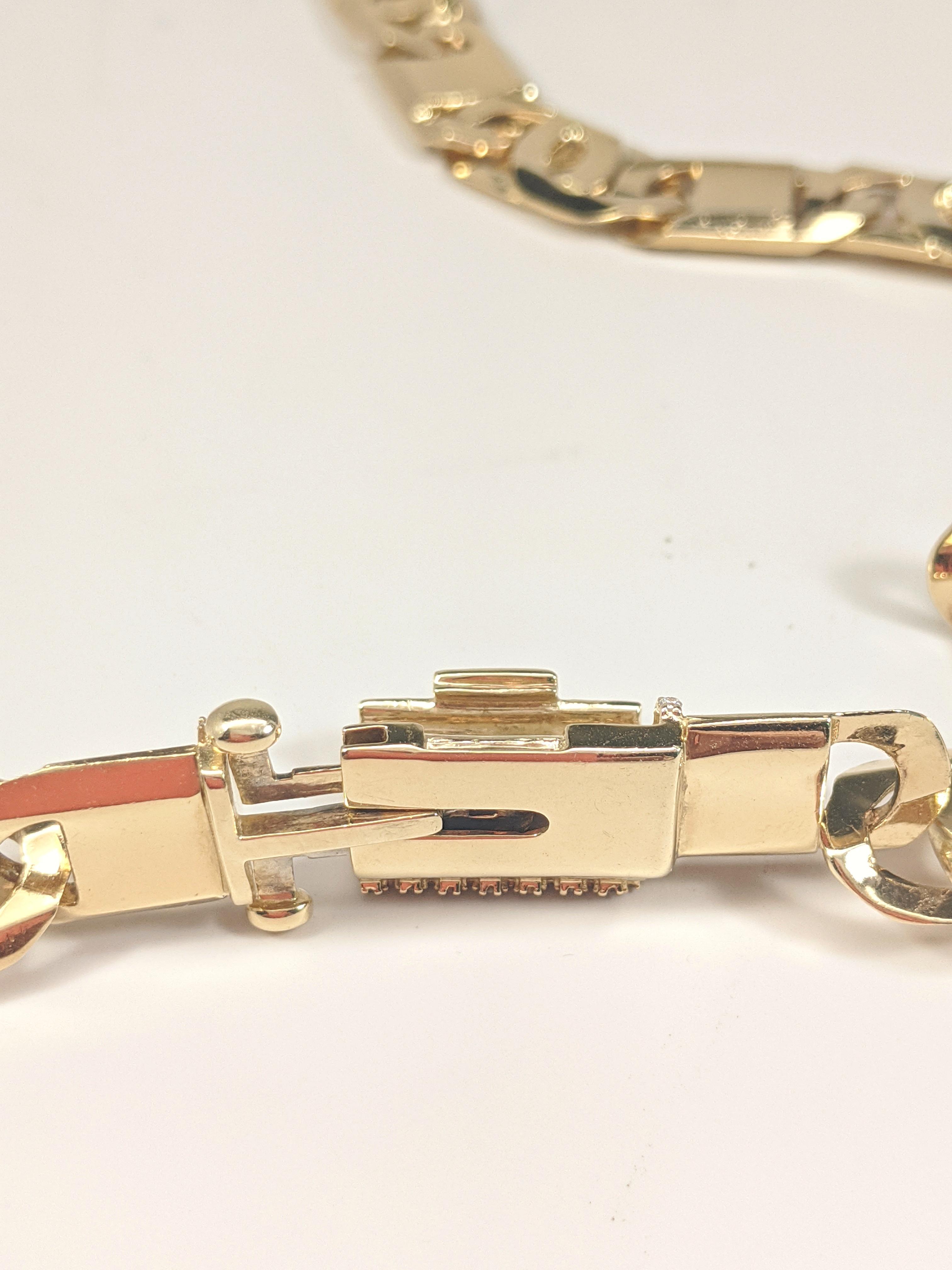 14KT Yellow Gold Solid Heavy Fancy Tiger Eye Link Chain, Hand Made Italian Chain 12MM wide, VVS Pave Diamond Lock, Cuban Box Lock, Open Lock Rear View
