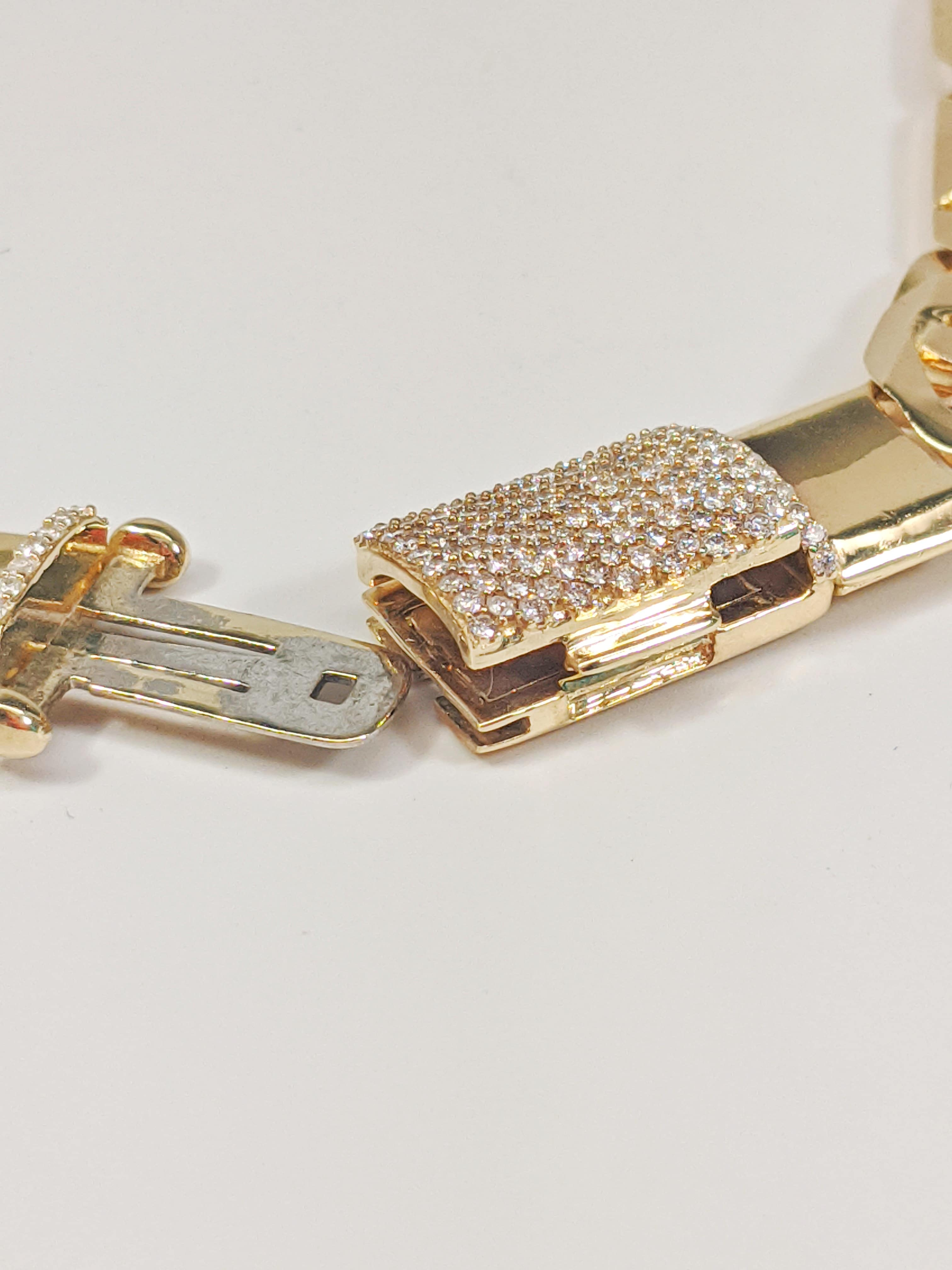 14KT Yellow Gold Solid Heavy Fancy Tiger Eye Link Chain, Hand Made Italian Chain 12MM wide, VVS Pave Diamond Lock, Cuban Box Lock, Open Lock