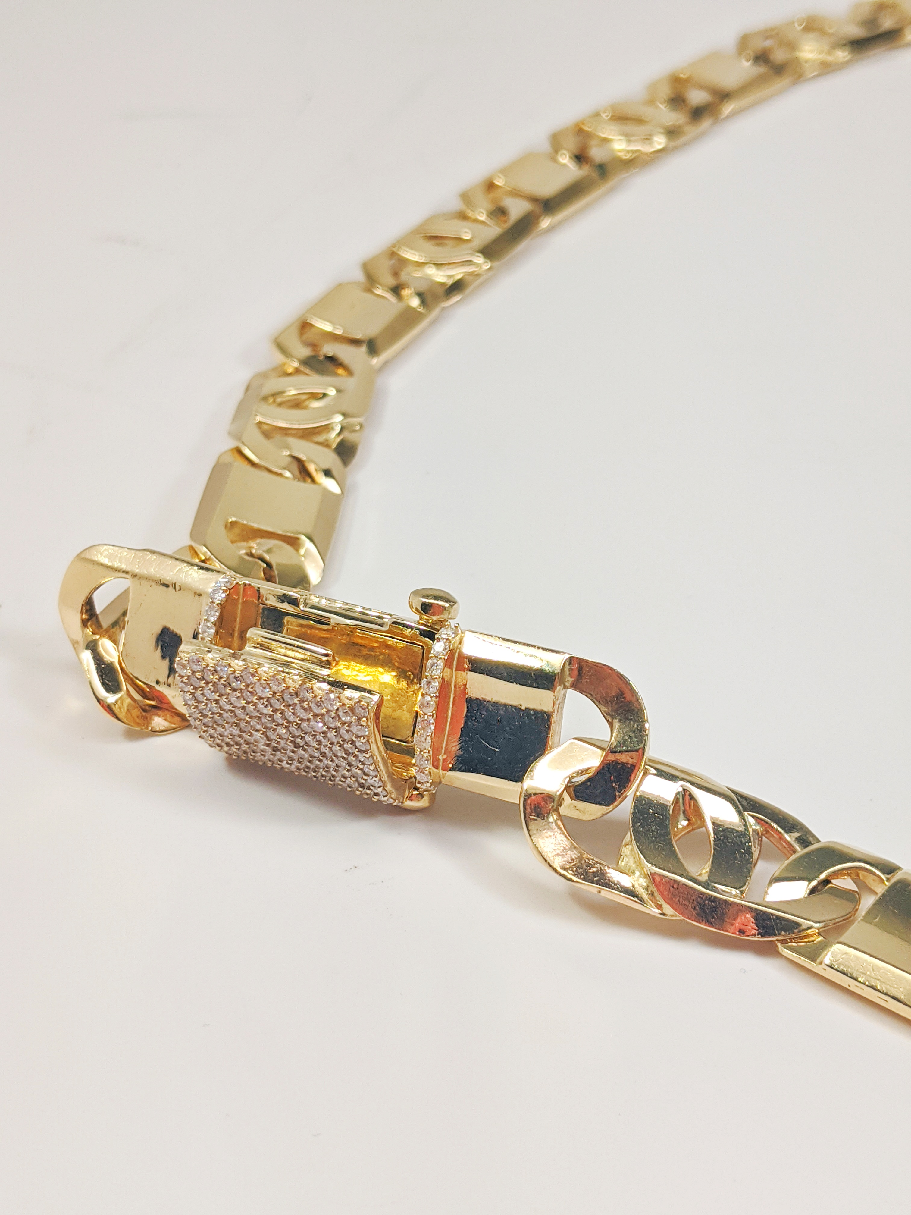 14KT Yellow Gold Solid Heavy Fancy Tiger Eye Link Chain, Hand Made Italian Chain 12MM wide, VVS Pave Diamond Lock, Cuban Box Lock, Side View Open Lock
