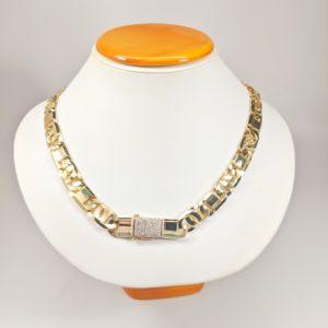 14KT Yellow Gold Solid Heavy Fancy Tiger Eye Link Chain, Hand Made Italian Chain 12MM wide, VVS Pave Diamond Lock, Cuban Box Lock