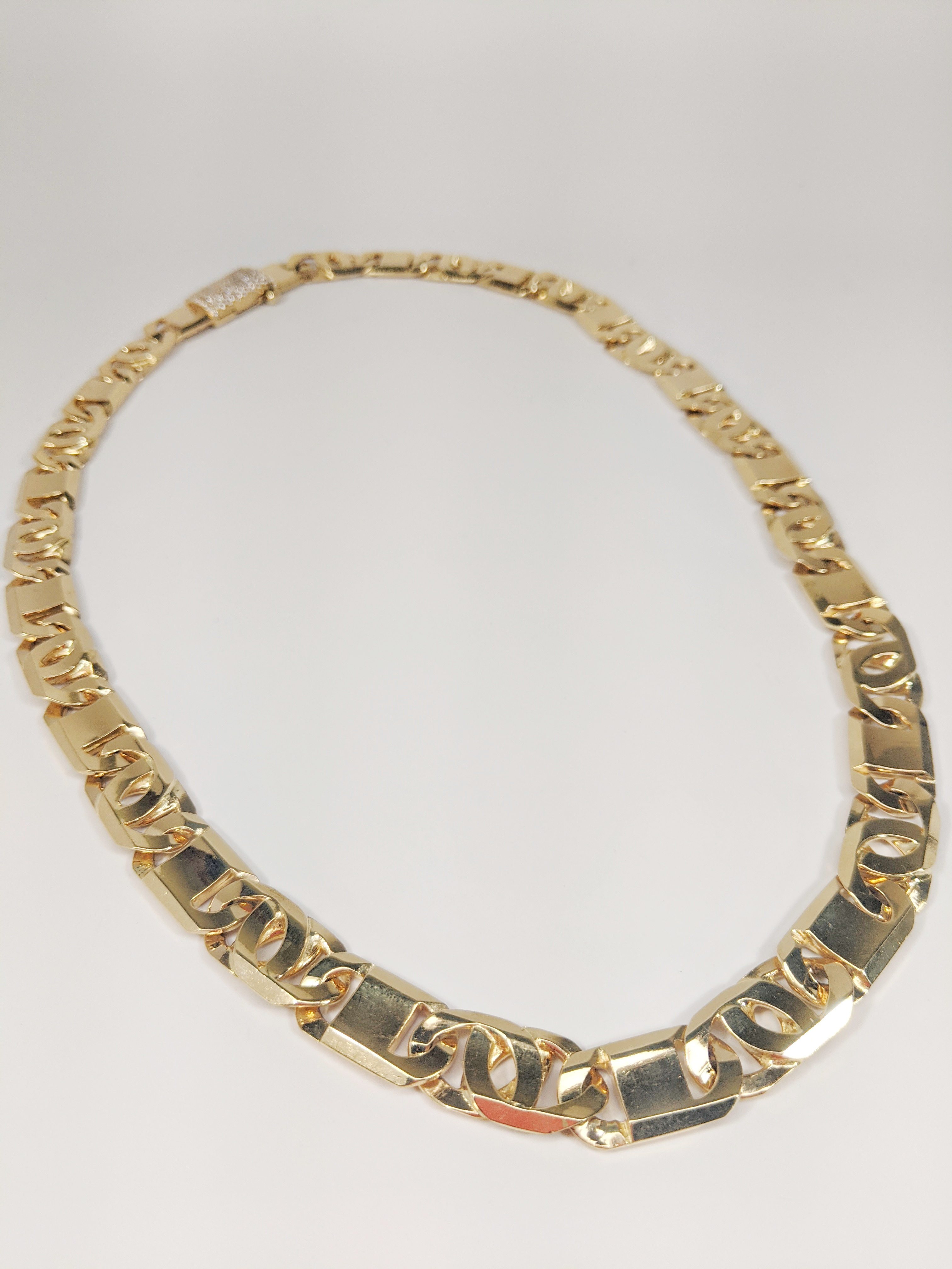 14KT Yellow Gold Solid Heavy Fancy Tiger Eye Link Chain, Hand Made Italian Chain 12MM wide, VVS Pave Diamond Lock, Cuban Box Lock, Whole Chain