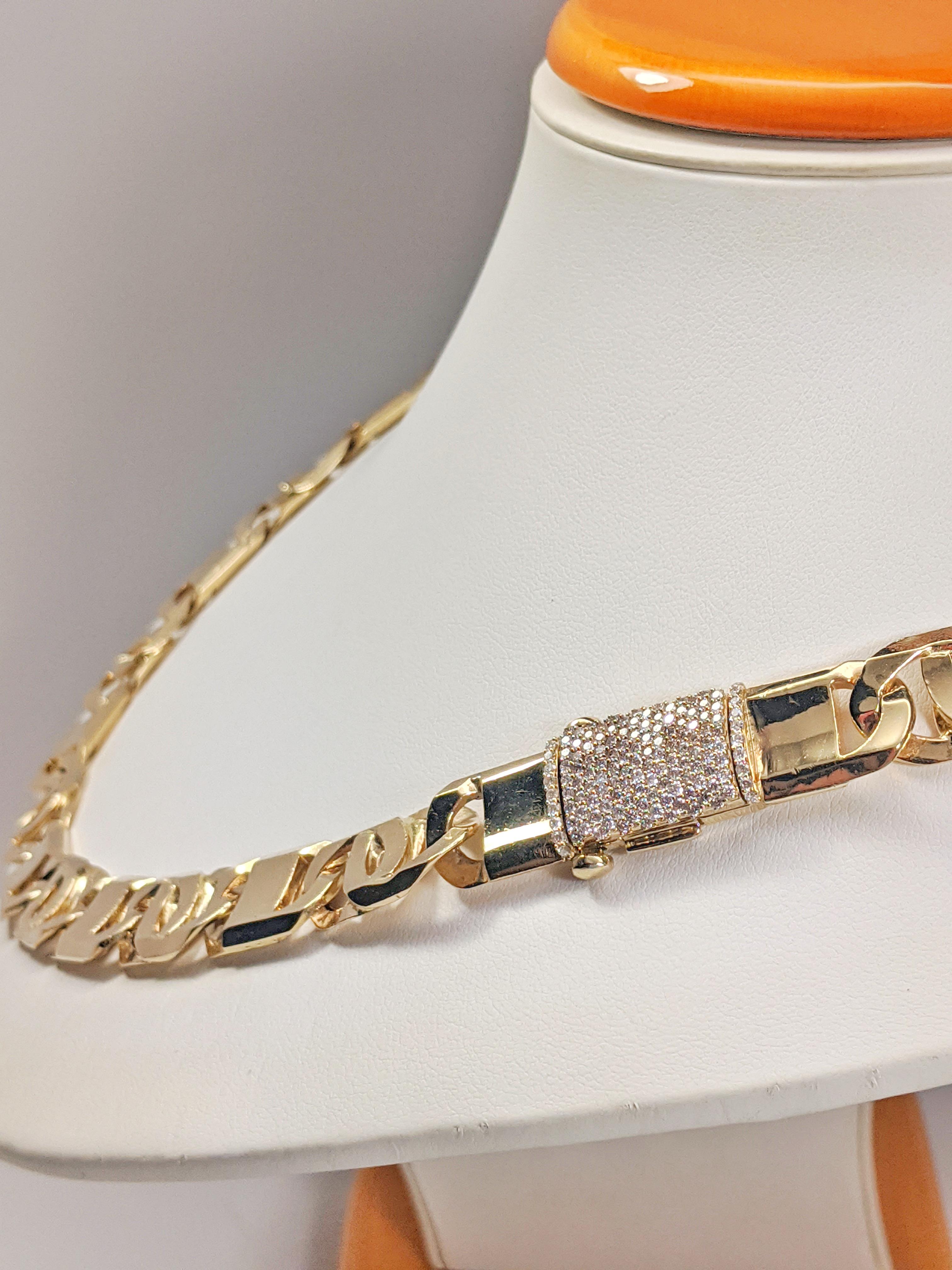 14KT Yellow Gold Solid Heavy Fancy Tiger Eye Link Chain, Hand Made Italian Chain 12MM wide, VVS Pave Diamond Lock, Cuban Box Lock, Lock Side View w/chain