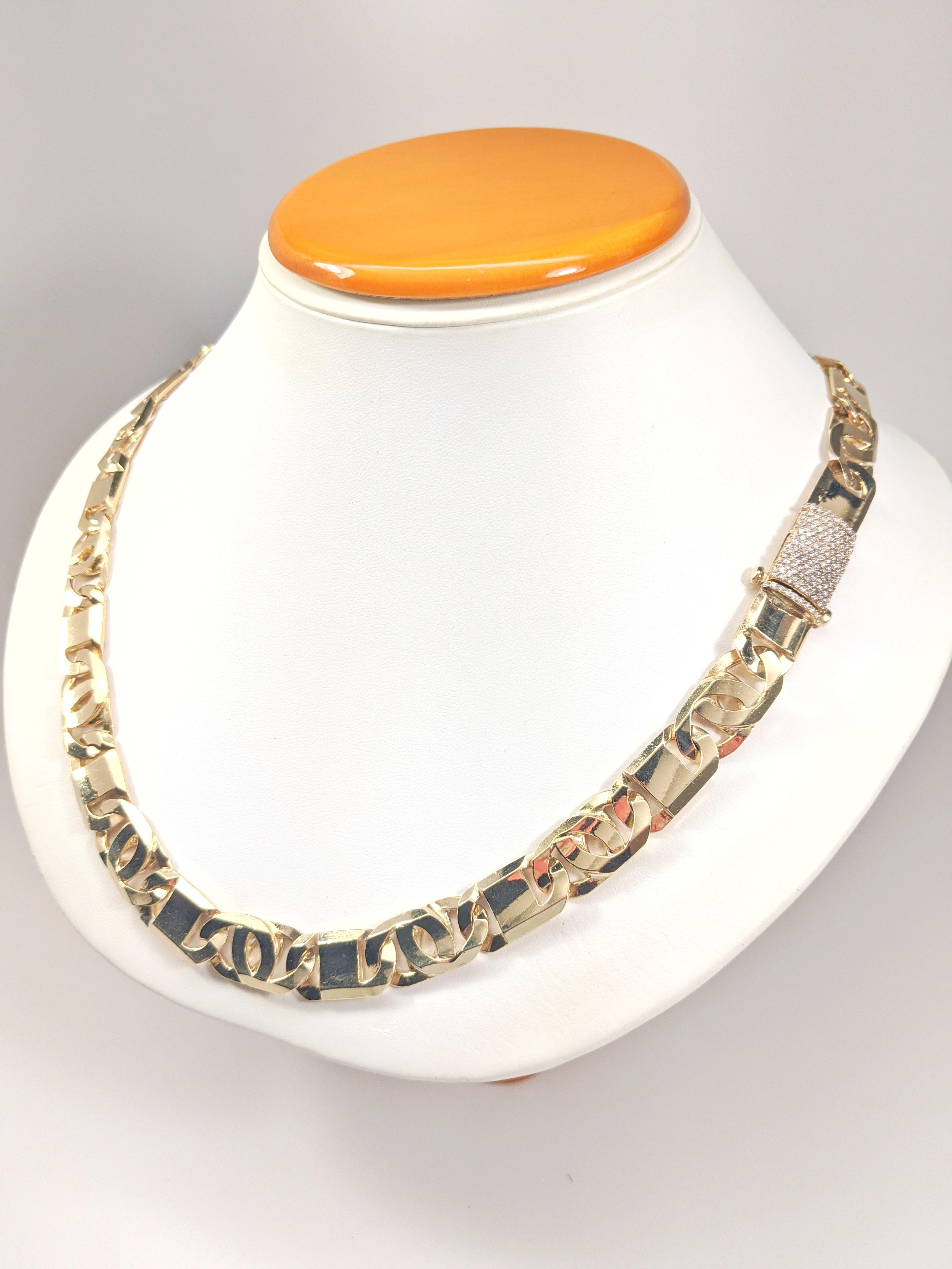 14KT Yellow Gold Solid Heavy Fancy Tiger Eye Link Chain, Hand Made Italian Chain 12MM wide, VVS Pave Diamond Lock, Cuban Box Lock 002