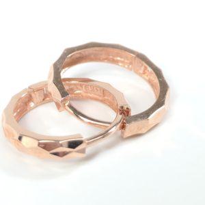 14K Rose Gold Diamond Cut Textured Earrings, Huggies, Hoops Earrings