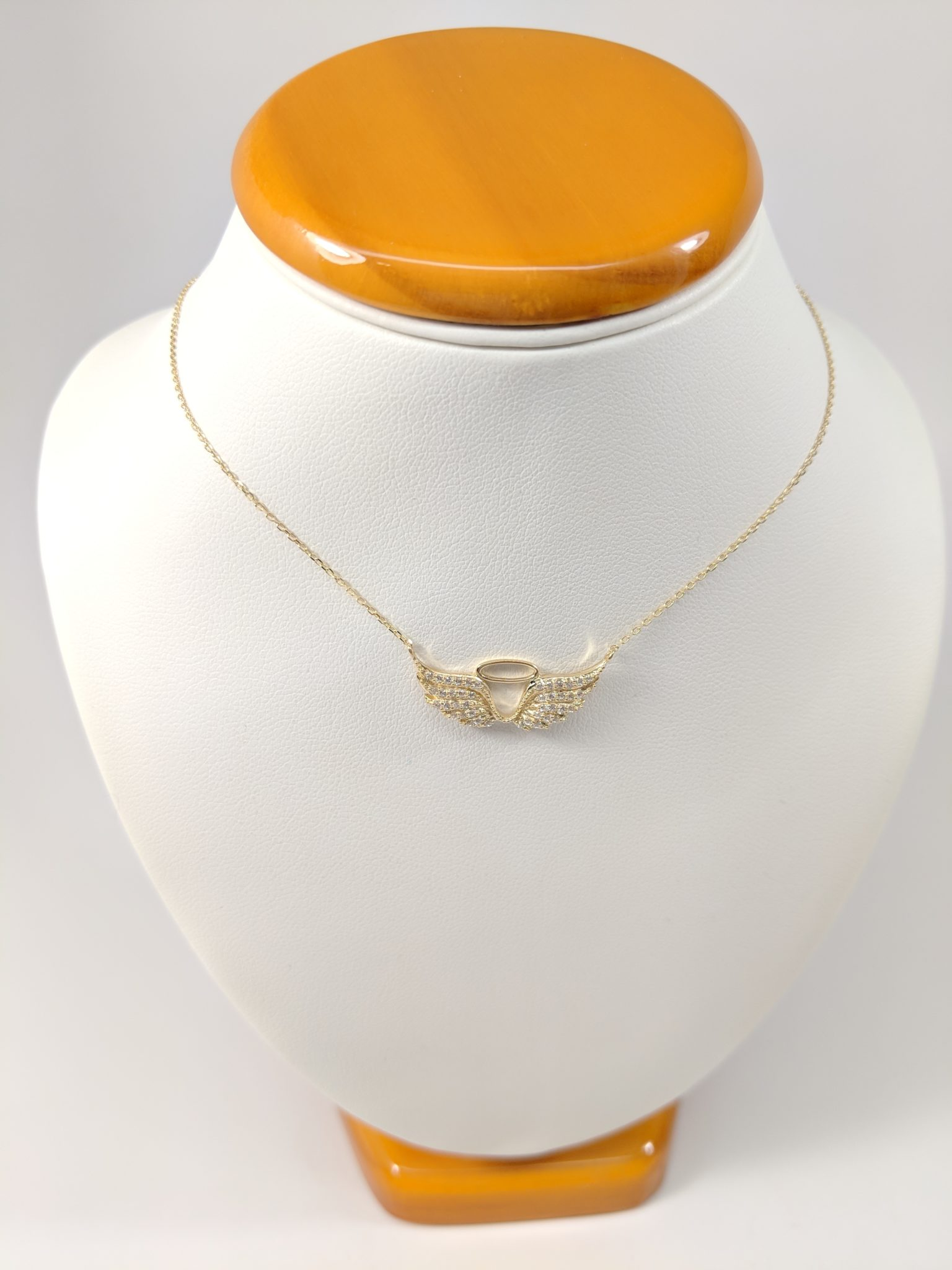14K Yellow White Gold Angel Wings with Halo Necklace Pendant Set on Neck Piece