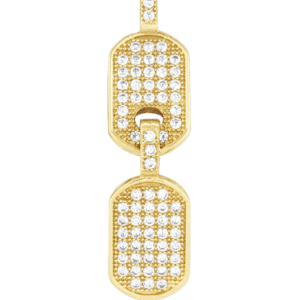 14K Yellow Gold two Double Dog Tag Chain Pendant with Genuine white Cubic Zirconia
